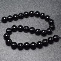 Natürliche schwarze Achat Perlen, Schwarzer Achat, rund, DIY & verschiedene Größen vorhanden, schwarz, verkauft per ca. 16 ZollInch Strang