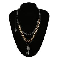 Mode-Multi-Layer-Halskette, Eisen, mit Aluminium, plattiert, für Frau, 48mm, verkauft von Strang