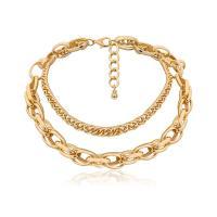 Mode-Multi-Layer-Halskette, Zinklegierung, plattiert, für Frau, frei von Nickel, Blei & Kadmium, verkauft von Paar