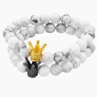 Mode Türkis Armbänder, Naturstein, mit Magnesit & Zinklegierung, plattiert, unisex, keine, frei von Nickel, Blei & Kadmium, 190mm, verkauft von Strang
