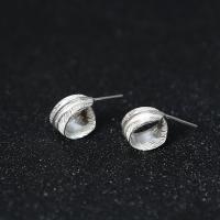 Sterling Silber Schmuck Ohrring, 925er Sterling Silber, Federn, plattiert, für Frau, 7mm, verkauft von Paar