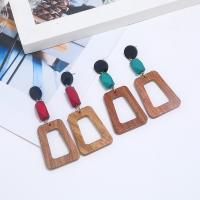 Acryl Schmuck Ohrring, mit Holz, goldfarben plattiert, für Frau, keine, 85x35mm, verkauft von Paar