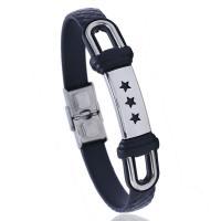 Silikon Armbänder, Edelstahl, mit Silikon, rund, plattiert, für den Menschen, 10x523mm, verkauft von Strang