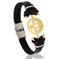 Lederband Armband, Kunstleder, mit Edelstahl, rund, für den Menschen, 10mm, verkauft per 8.7 ZollInch Strang