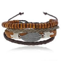 Lederband Armband, Kunstleder, mit Zinklegierung, plattiert, für den Menschen, 17-18CM, verkauft von Strang