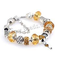 European Armband, Zinklegierung, mit Lampwork, plattiert, DIY & verschiedene Größen vorhanden & für Frau, gelb, 5SträngeStrang/Menge, verkauft von Menge