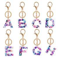 Schlüsselanhänger, Harz, mit Zinklegierung, goldfarben plattiert, Buchstaben sind von A bis Z & für Frau, keine, 112x30mm, verkauft von PC