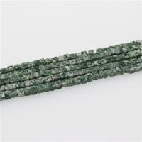 Grüner Tupfen Stein Perlen, grüner Punkt Stein, Quadrat, poliert, DIY, grün, 4x4mm, Länge:ca. 15.35 ZollInch, 5SträngeStrang/Menge, verkauft von Menge