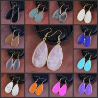 Edelstein Ohrringe, mit Messing, Tropfen, goldfarben plattiert, für Frau, keine, 55x21mm, verkauft von Paar