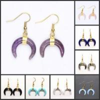 Edelstein Ohrringe, mit Messing, Mond, goldfarben plattiert, für Frau, keine, 20x20mm, verkauft von Paar