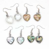 Muschel Ohrringe, Herz, silberfarben plattiert, für Frau, keine, 17x17mm, verkauft von Paar
