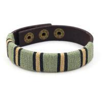Rindsleder Armband, Kunstleder, mit Gewachsten Baumwollkordel, unisex, grün, 1.5cmx25cm, verkauft von PC