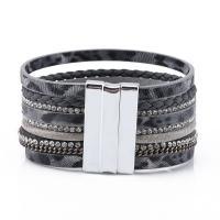 Lederband Armband, Zinklegierung, plattiert, für Frau & mit Strass, keine, frei von Nickel, Blei & Kadmium, 180-190mm, verkauft von Strang