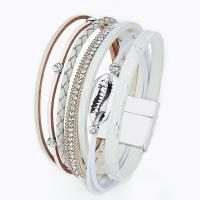 Lederband Armband, Leder, mit Zinklegierung, plattiert, für Frau, keine, 190mm, verkauft per ca. 7.48 ZollInch Strang