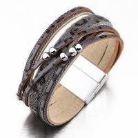 PU Schnur Armbänder, Zinklegierung, mit PU Leder, plattiert, für Frau, keine, 200mm, verkauft von Strang