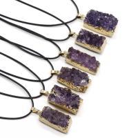 Amethyst Halskette, mit PU Leder, Pendular Lochrose, goldfarben plattiert, unisex, violett, 30-35mm, verkauft per ca. 17.7 ZollInch Strang