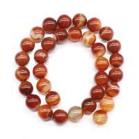 Natürliche Streifen Achat Perlen, rund, DIY & verschiedene Größen vorhanden, rot, verkauft von PC