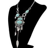 Zinklegierung Schmuck Halskette, mit Türkis, plattiert, für Frau & hohl, keine, frei von Nickel, Blei & Kadmium, 70x195mm, verkauft per 7.90 ZollInch Strang