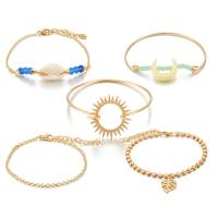 Zinklegierung Armband, mit Muschel, goldfarben plattiert, für Frau, frei von Nickel, Blei & Kadmium, 60mm,50mm,25mm,20mm, 5SträngeStrang/setzen, verkauft von setzen