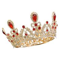 Krone, Zinklegierung, plattiert, für Braut & mit Strass, goldfarben, frei von Nickel, Blei & Kadmium, 130x75x44mm, verkauft von PC