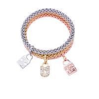 Zinklegierung Armband, Armband, mit elastischer Faden, plattiert, für Frau, frei von Nickel, Blei & Kadmium, 70mm, verkauft von setzen