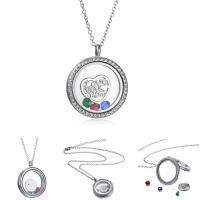 Mode Medaillon Halskette, Zinklegierung, mit Glasperlen, unisex, Silberfarbe, 3PCs/Menge, verkauft von Menge