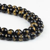 Natürliche schwarze Achat Perlen, Schwarzer Achat, rund, schwarz, 10x10x10mm, 38/Strang, verkauft von Strang