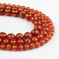 Natürlich rote Achat Perlen, Roter Achat, rund, rot, 8x8x8mm, 48/Strang, verkauft von Strang