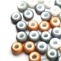 Kristall-Perlen, Kristall, plattiert, DIY & glatt & großes Loch & satiniert, mehrere Farben vorhanden, 14x9mm, Bohrung:ca. 6mm, verkauft von PC