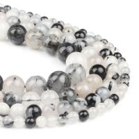 Natürlicher Quarz Perle, rund, grau, 6x6x6mm, 63PC/Strang, verkauft von Strang