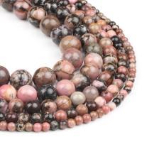 Schwarz Vein Türkis Perle, rund, rot, 4x4x4mm, 98PC/Strang, verkauft von Strang