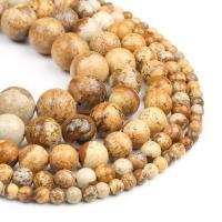 Bild Jaspis Perlen, rund, poliert, braun, 4x4x4mm, 98PC/Strang, verkauft von Strang