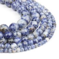 Sodalith Perlen, Blauer Speckle-Stein, rund, poliert, blau, 4x4x4mm, 98/Strang, verkauft von Strang
