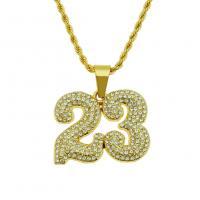 Männer Halskette, Zinklegierung, plattiert, für den Menschen & mit Strass, keine, frei von Nickel, Blei & Kadmium, 3x750mm,39x33mm, verkauft von Strang