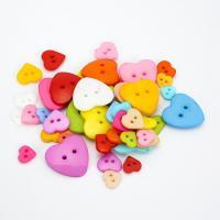 Acryl Zweilochknöpfe, Herz, DIY & verschiedene Größen vorhanden, gemischte Farben, 1000PCs/Tasche, verkauft von Tasche