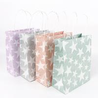 Mode Geschenkbeutel, Kraftpapier, Rechteck, mit einem Muster von Stern & verschiedene Größen vorhanden, gemischte Farben, 50PCs/Menge, verkauft von Menge