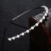 Braut Haarband, Kunststoff Perlen, für Braut & mit Strass, Silberfarbe, 125x5mm, verkauft von PC