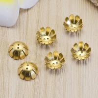 Messing Perlenkappe, DIY, originale Farbe, frei von Nickel, Blei & Kadmium, 14x5x0.50mm, Bohrung:ca. 1mm, 100PCs/Tasche, verkauft von Tasche