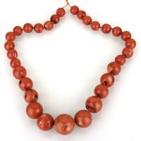 Natürliche Korallen Perlen, Koralle, rund, poliert, DIY, rote Orange, 15-27.5mm, Bohrung:ca. 1.5mm, Länge:ca. 24 ZollInch, verkauft von kg