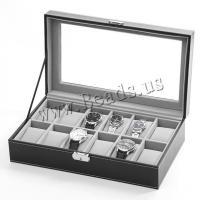 Uhr Schmuckkasten, Baumwollsamt, mit PU Leder & Glas & Edelstahl, unisex, schwarz, 330x190x90mm, verkauft von PC