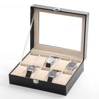 Uhr Schmuckkasten, PU Leder, mit Baumwollsamt & Glas & Edelstahl, unisex, keine, 250x200x80mm, verkauft von PC