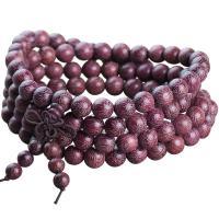 Handgelenk Mala, Sandelholz, rund, verschiedene Größen vorhanden, violett, ca. 108PCs/Strang, verkauft von Strang