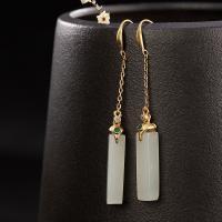 925 Sterling Silber Drop & amp; Ohrringe baumeln, 925er Sterling Silber, mit Hetian Jade, vergoldet, für Frau & mit Strass, 5x61mm, verkauft von Paar