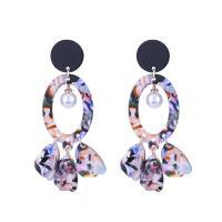 Harz Ohrring, mit Kunststoff Perlen, goldfarben plattiert, für Frau, farbenfroh, 71mm, verkauft von Paar