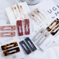 Haarspange, Acetat-Blatt, mit Zinklegierung, handgemacht, verschiedene Stile für Wahl, keine, 66x19mm, verkauft von Paar