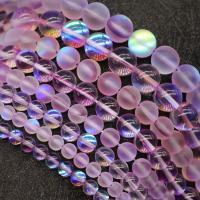 Runde Kristallperlen, Mondstein, DIY & verschiedene Größen vorhanden, hellviolett, verkauft per ca. 15 ZollInch Strang