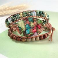 Wrap Armband , Lederband, mit Naturstein & Zinklegierung, unisex, gemischte Farben, 610mm, verkauft von PC
