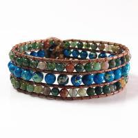 Wrap Armband , Lederband, mit Naturstein & Zinklegierung, unisex, gemischte Farben, 200mm, verkauft von PC
