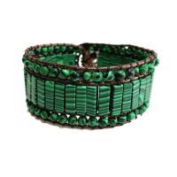 Wrap Armband , Lederband, mit Malachit & Zinklegierung, unisex, grün, 250mm, verkauft von PC