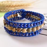 Wrap Armband , Lederband, mit Naturstein & Zinklegierung, unisex, blau, 200mm, verkauft von PC